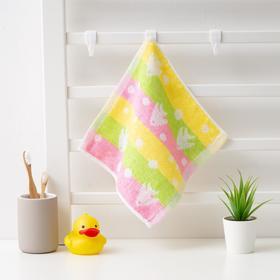 Полотенце махровое Крошка Я 'Рыбки' 25*25 см, цв.желтый/розовый, 100% хлопок, 360 гр/м2 Ош
