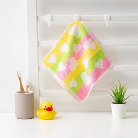 Полотенце махровое Крошка Я 'Сердечки' 25*25 см, цв.желт/розовый, 100% хлопок, 360 гр/м2 Ош