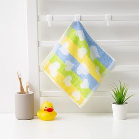 Полотенце махровое Крошка Я 'Сердечки' 25*25 см, цв.желтый/синий, 100% хлопок, 360 гр/м2 Ош