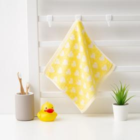 Полотенце махровое Крошка Я 'Сердечки' 25*25 см, цв.желтый, 100% хлопок, 360 гр/м2 Ош