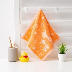 Полотенце махровое Крошка Я 'Жирафы' 26*26 см, цв.оранжевый, 100% хлопок, 400 гр/м2 Ош
