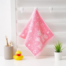 Полотенце махровое Крошка Я 'Жирафы' 26*26 см, цв.розовый, 100% хлопок, 400 гр/м2 Ош