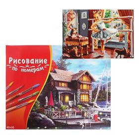 Картина по номерам 40×50 см в коробке, 21 цвет « Маленькая балерина с котятами»