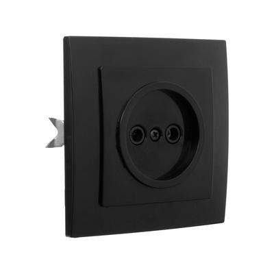 """Розетка """"Элект"""" RS 16-131-Ч, одноместная, без з/к, скрытая, черная - Фото 1"""