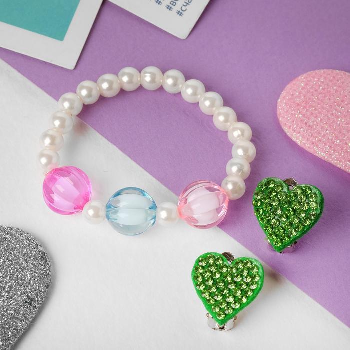 Набор детский Выбражулька 2 пред-та клипсы, браслет, сердечки, цвет МИКС