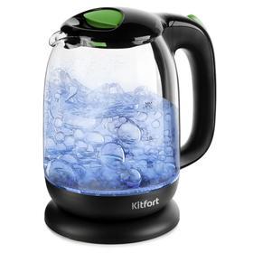 Чайник Kitfort КТ-625-2, стекло, 1.7 л, 2200 Вт, чёрно-зеленый