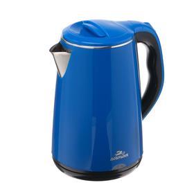 "Чайник электрический ""Добрыня"" DO-1235D, пластик, колба металл, 2.8 л, 2200 Вт, синий"