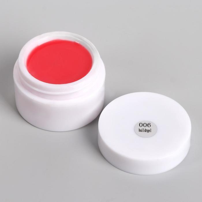 Fiber Gel для наращивания ногтей, камуфлирующий, 15 гр, цвет тёмно-розовый
