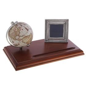 Настольный набор с глобусом и фоторамкой 7x7 см