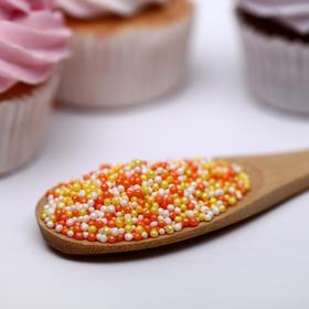 Драже сахарное «Бисер цветной» жёлтый, оранжевый, серебро, 50 г