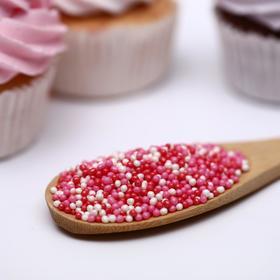 Драже сахарное «Бисер цветной» розовый, красный, серебро, 50 г