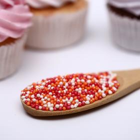 Драже сахарное «Бисер цветной» оранжевый, красный, серебро, 50 г
