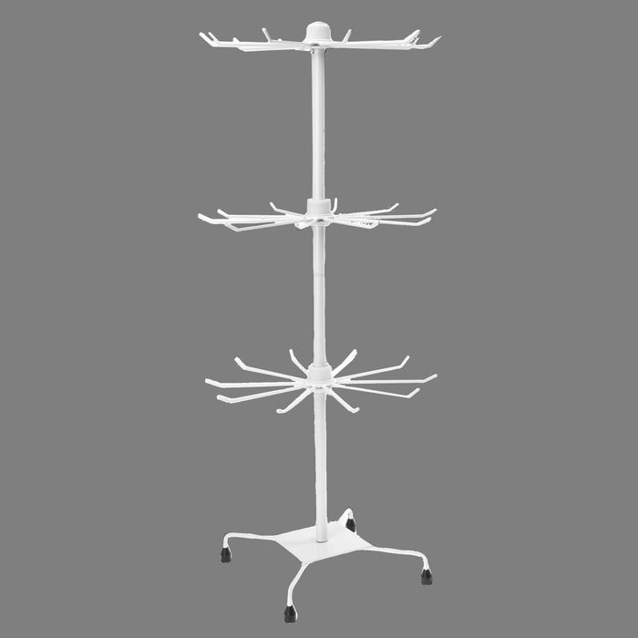 Вертушка, 3 яруса по 10 крючков, 30*30*73, цвет белый
