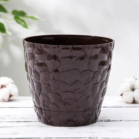 Кашпо с поддоном №1 Росспласт «Камешки», 1,6 л, цвет шоколадный