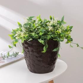Кашпо с поддоном №3 «Камешки», 5 л, цвет шоколадный