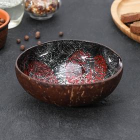 Тарелка «Панно», d=13 см (±3), из скорлупы кокосового ореха, цвет красный