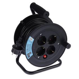 Удлинитель на катушке Luazon Lighting, 4 розетки, 15 м, 10 А, ПВС 3х0.75 мм2, с з/к, IP20 Ош