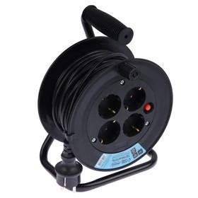 Удлинитель на катушке Luazon Lighting, 4 розетки, 20 м, 10 А, ПВС 3х0.75 мм2, с з/к, IP20 Ош