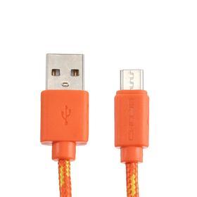 Кабель Crown CMCU-3042M, micro USB - USB, 2 А, 1 м, оранжевый