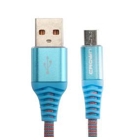 Кабель Crown CMCU-3102M, micro USB - USB, 2 А, 1 м, сине-красный