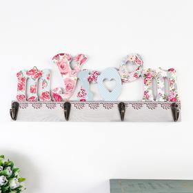 Крючки декоративные дерево 'Цветочная надпись' МИКС 12х29,5х5 см Ош