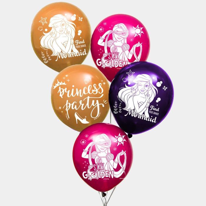 """Воздушные шары """"Princess party"""", Принцессы (набор 5 шт) 12 дюйм"""