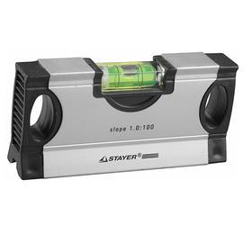 Уровень STAYER MINI  34732-1,0, с фиксированным углом, с уклоном 1:100, 125 мм Ош