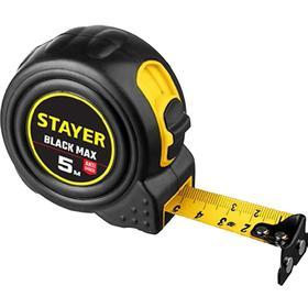 Рулетка STAYER BlackMax 3410-05-25_z02, обрезиненный корпус, с двумя фиксаторами, 5м х 25мм   553299