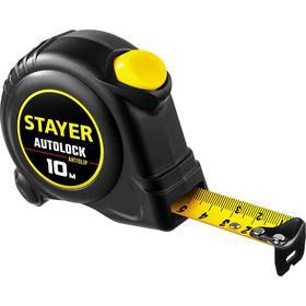 Рулетка STAYER АutoLock 2-34126-10-25, с автостопом, 10м х 25мм