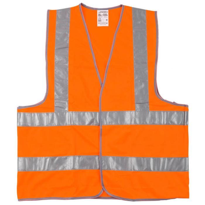 """Жилет сигнальный STAYER """"MASTER"""" 11621-52, оранжевый, размер XXL (52-54)"""
