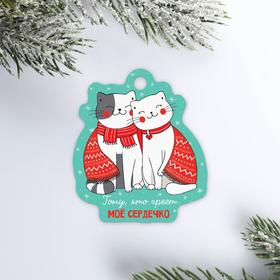 Шильдик на подарок «Новогодние котики», 5,2 × 6,0  см Ош