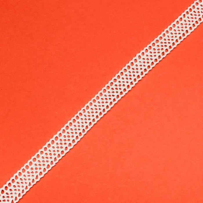 Кружево, размер 1 см, 1 метр, цвет белый