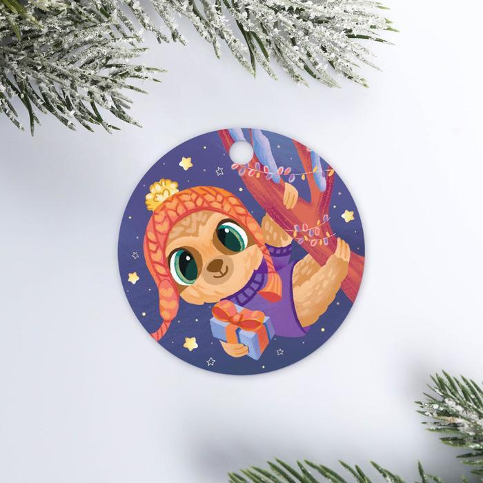 Шильдик на подарок Новогодние приключения, 5,6 5,6 см