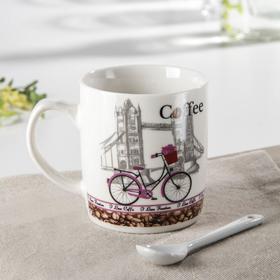 Кружка с ложкой «Кофе в Париже», 200 мл, рисунок МИКС