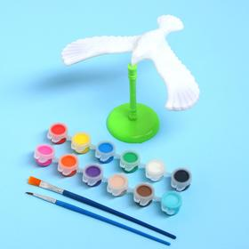 """Набор для творчества """"Раскрась птичку"""",  краска 12 цветов, кисть, подставка"""