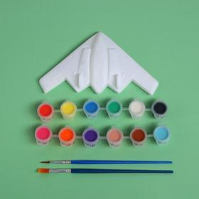 """Набор для творчества """"Раскрась самолет"""",  краска 12 цветов, кисть"""