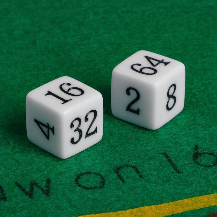 Кубики игральные 1.6  1.6 см, набор 2 шт., пластик, стороны 2-4-8-16-32-64