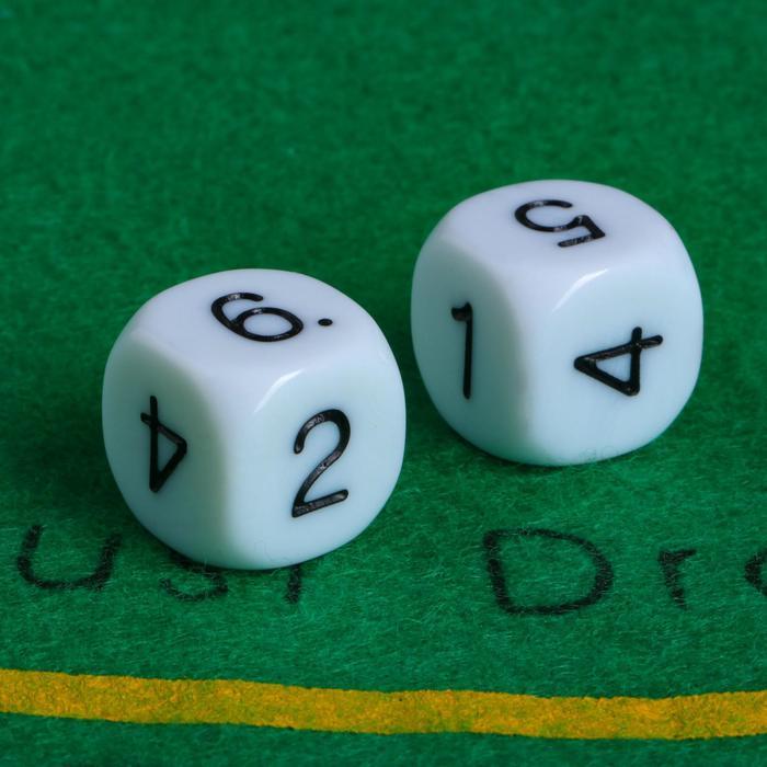 Кубики игральные 1.6  1.6 см, набор 2 шт., пластик, стороны 1-2-3-4-5-6