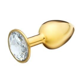 Анальная пробка, золотая, с прозрачным кристаллом, D = 27 мм