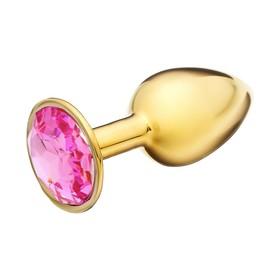 Анальная пробка, золотая,с розовым кристаллом, D = 27 мм