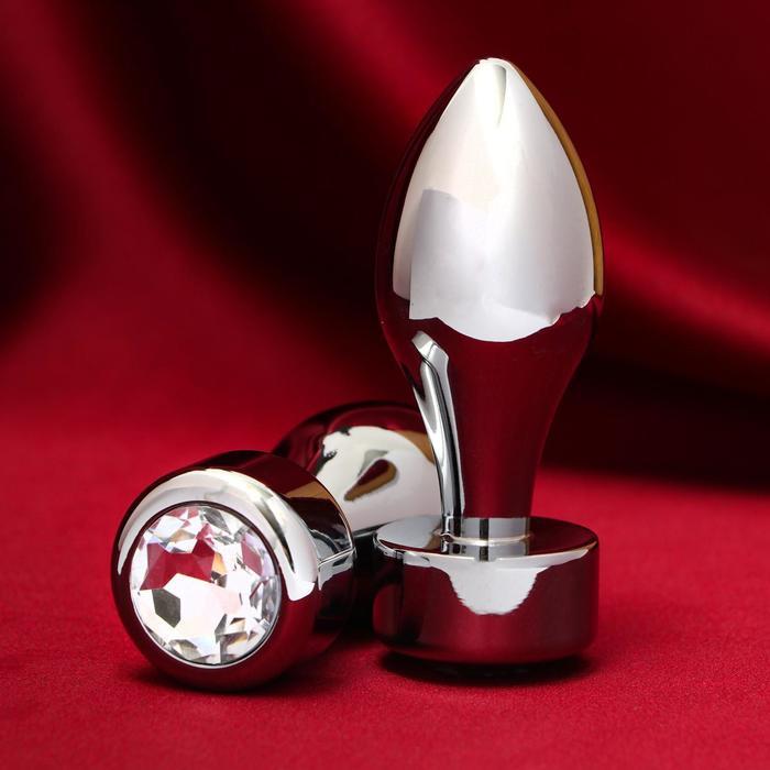 """Анальная пробка """"Пуля"""", серебрянная, с прозрачным кристаллом, D = 29 мм"""