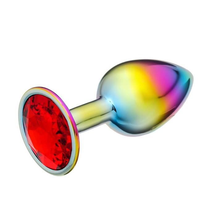 """Анальная пробка """"Хамелеон"""", с красным кристаллом, D = 27 мм"""