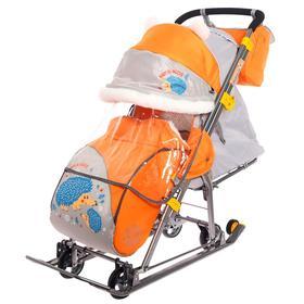 Санки-коляска «Ника детям 7-6», с ёжиком, цвет оранжевый/серый Ош