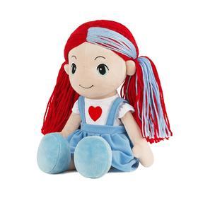 Мягкая игрушка «Кукла Стильняшка» с голубой прядью в сарафане с сердцем, 40 см