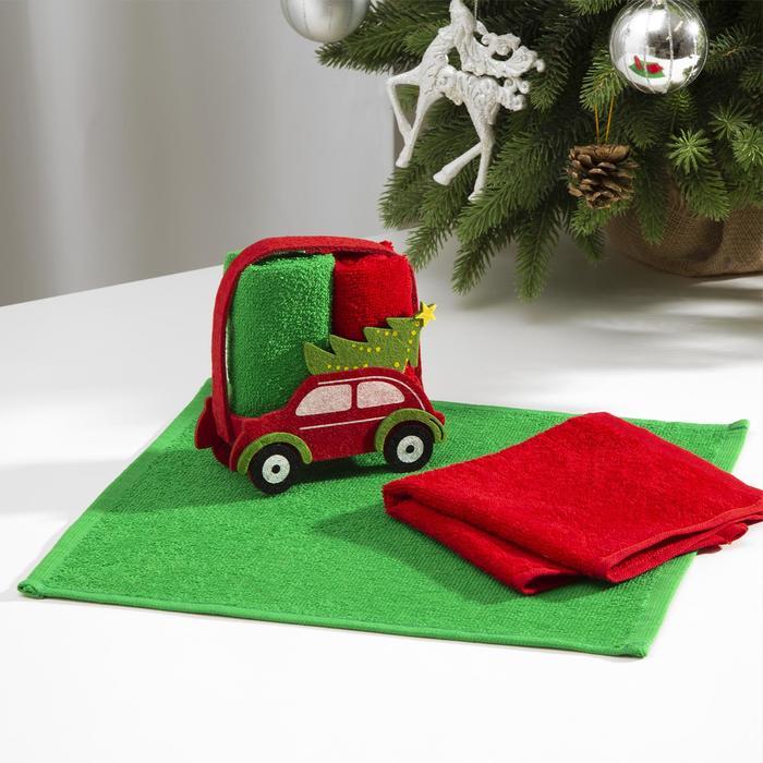 Набор полотенец в корзинке ЭтельНовый год цв. красныйзеленый,30х30 см-2 шт, 100 хл