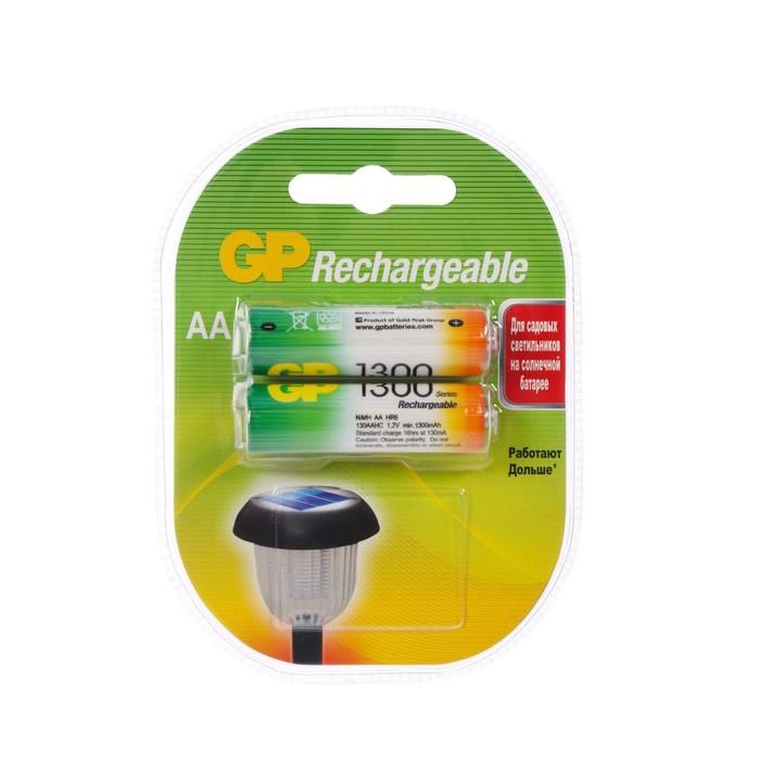 Аккумулятор GP, Ni-Mh, AA, HR6-2BL, 1.2В, 1300 мАч, блистер, 2 шт.