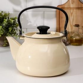 Чайник сферический, 3 л, деколь МИКС, цвет слоновая кость