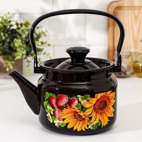 Чайник цилиндрический, 2 л, деколь МИКС, цвет коричневый
