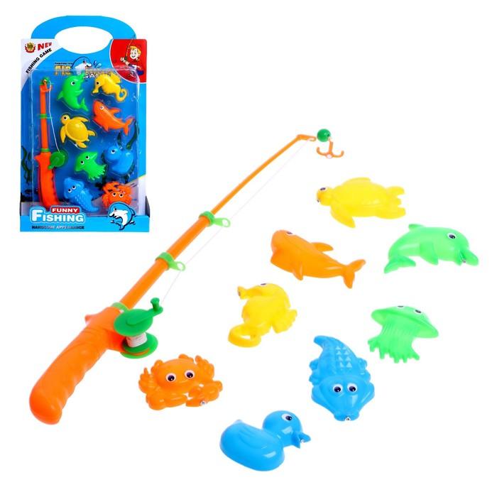 Рыбалка морская Забавное купание 1 удочка, 8 морских обитателей, МИКС