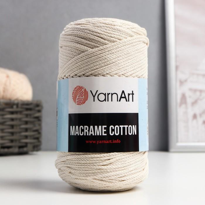 """Пряжа """"Macrame Cotton"""" 20% полиэстер, 80% хлопок 225м/250гр (752 молочный)"""